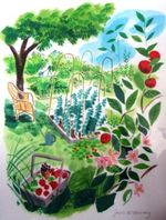 Allotment Summer by Sarah McMenemy. Being sold in aid of the Fortis Green Community Allotments.