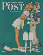 Double Trouble for Willie Gillis, by Norman Rockwell. Two girls square up on receiving identical photos from Willie at the front. Hey, they're gardeners - they've both got hoes!
