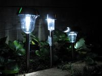 Smart Solar, Gardman marker light, Benross Gardenkraft 18100 at night