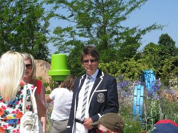 Mike Read in front of Ecover garden, Hampton Court Flower Show 2013