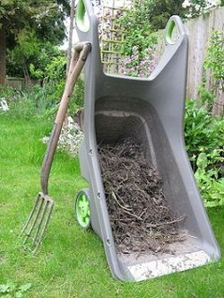 Tipped up, the Realbarrow becomes a sack trolley or giant dustpan.