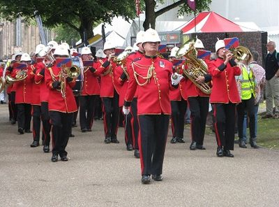 On the way to the Bandstand, playing Trafalgar, Shrewsbury Flower Show, 2013