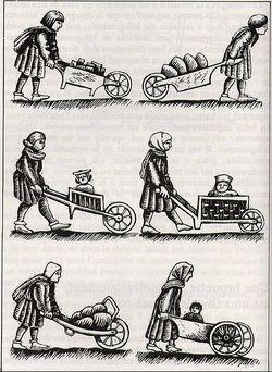 Modeles brouettes. Medieval wheelbarrow designs. Wikipedia.