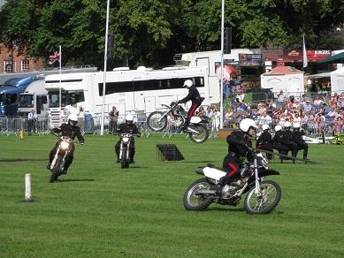 White Helmets motorcycle display team, Shrewsbury Flower Show 2013