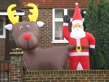 Blow-up reindeer and Father Christmas