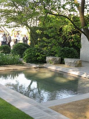 The rippling pool in Luciano Giubbelei Laurent-Perrier Best in Show Garden, Chelsea Flower Show 2014