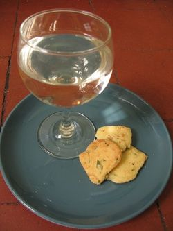 Lovage cheese biscuits and white wine