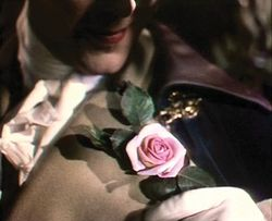 Marius Goring admires his rose in A Matter of Life and Death