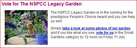 NSPCC request for votes on website