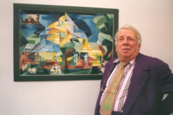 George Melly and his cubist print, donated to The Palm House