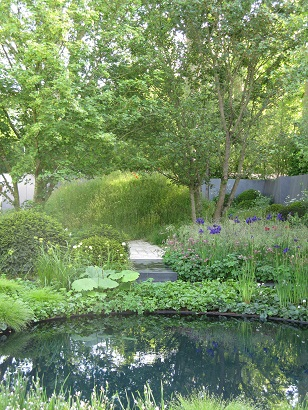 No Man's Land, Chelsea Flower Show, 2014, Waterside section, with mine crater now a wildlife pond