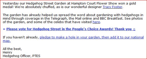 Email from PTES re Hedgehog Street