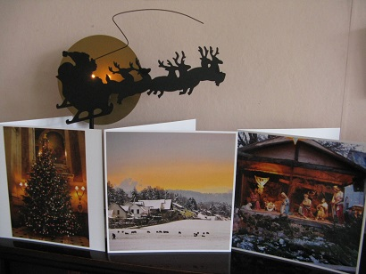 Square Snaps cards on mantelpiece