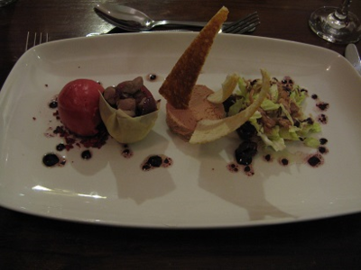 Confit Duck Salad with Duck Liver Parfait, Cherry Sorbet