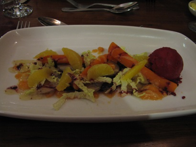 Salt baked beetroot, carrot puree, beetroot sorbet, orange