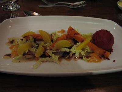 Salt baked beetroot, carrot puree, beetroot sorbet, orange