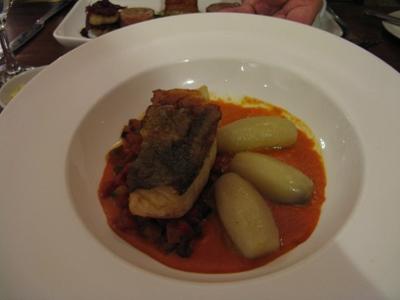 Oven roasted cod, chorizo ratatouille, fondant potatoes, red pepper coulis