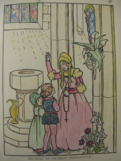 Adult colouring in 1927 colouring book Pied Piper of Hamelin
