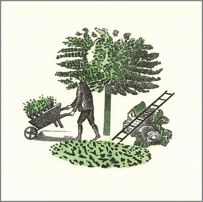 Ravilious Gardener, card from Postscript