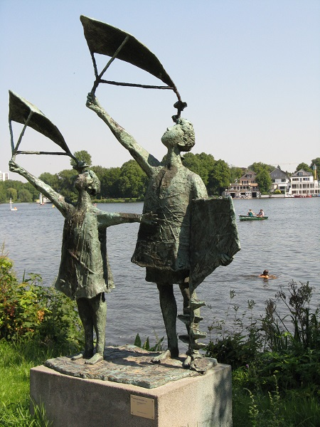 Gerhard Brantes sculpture, by Alster, Hamburg, Germany