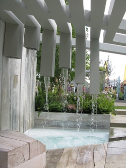 Falling water in the Garden of Solitude, Hampton Court Flower Show 2014