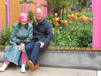 Zandra Rhodes and Joe Swift at Greenwood Theatre Pocket Park, April 2015