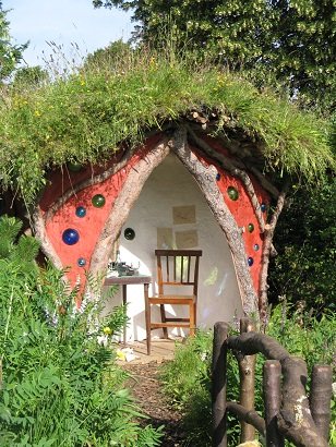 Winnie the Pooh garden, RHS Hampton Court 2015, with wildflower turf roof