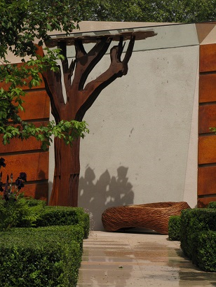 Shadows cast by steel poplar tree, Morgan Stanley Healthy Cities by Chris Beardshaw, RHS Chelsea 2015