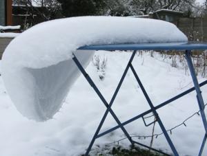 Snow sliding from garden table 2013