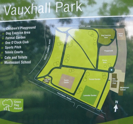 Map of Vauxhall Park