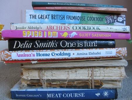 Pile of cookbooks